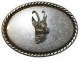 Gürtelschnalle Gämse 4,0 cm - Silber