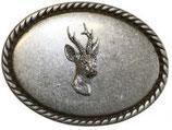 Gürtelschnalle Rehkopf 4,0 cm - Silber