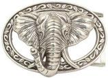Gürtelschnalle Delux Elefant 4,0 cm - Silber
