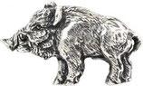 Gürtelschnalle Wildschwein 4,0 cm - Altsilber