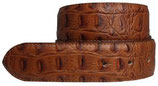 Wechselgürtel mit Krokoprägung ohne Schließe 4,0 cm - Cognac