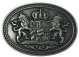 Gürtelschnalle Doppellöwe und Wappen 4,0 cm - Altsilber