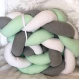 Bettschlange Geflochten Mint-Grau
