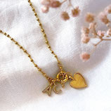 Initial heart Charms Necklace gold