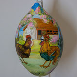 Bemalenes Glasei:  Hühnerstahl