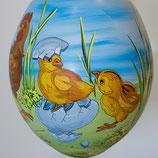 Bemalenes Glasei:  Entenküken mir Entenmutter
