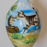 Bemalenes Glasei: Igel mit Katze