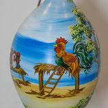 Bemalenes Glasei:  Hund und Hühner