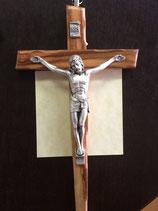 Crucifix bois d'olivier biseauté