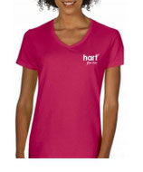 Katoenen shirt hart for her roze of zwart