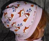Kinder Mütze rosa mit Füchsen Gr. 50
