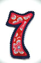 Nr. 7 blau – rot geblumt