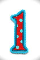 Nr. 1 rot – blau gepunktet