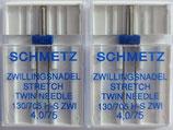Zwillingsnadel Schmetz STRETCH für Nähmaschinen (Doppelpack)