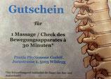 Gutschein für Massage / Behandlung von 30Min