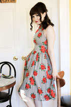 Retrolicious Stripes and Roses Dress