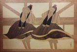Intarsienbild, gearbeitet nach Schwälmer Motiven