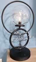 Lampe noire à pile Arbre de vie en 3d avec perles Cristal de Roche