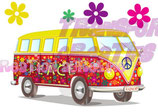 Bügeltransfer Flower Power Bus
