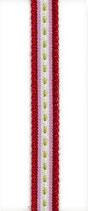 Dänisches Schmuckband beige-grün-rot-rosa gestreift