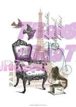 Bügeltransfer Fauteuil et tour Eiffel