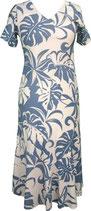 【331-0094】レンタルー半袖Vネックドレス(ブルー)