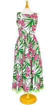 【111-0084】SALE 裾フリル・ハワイアンドレス(グリーン)