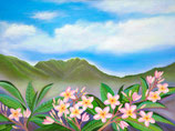 【184-0025】Hawaiian Art(Pink Plumerias Nuuanu)