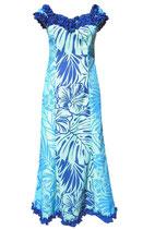 【111-0022】フリルネックドレス(ブルー)