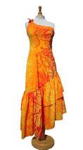 【111-0054】二段フリル・フラダンスドレス(オレンジ)
