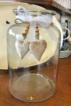 Glaswindlicht mit Holz Herzen-----Art.Nr. VO009