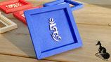 HUNG - Tibetisches Mantra Silbe in feiner Holzschrift im Karton-Rahmen - Größe  11x11x1 cm