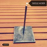 Socle Acier 70mm x 70mm x 6mm + tige de 100mm d'un diam.4mm