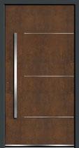 PORTE EFFET ROUILLE panneau rodenberg SUR base de profil TECHNAL SOLEAL 65