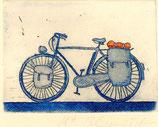Bicicleta azul grabado postal