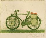Bicicleta verde grabado postal