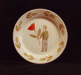 Plate with pilgrim and flower