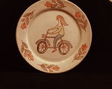 Plate with girl on bike