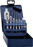 Gewindebohrersatz DIN 352 M3-M12 15 teilig HSS Metallkassette PROMAT