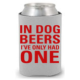 In Dog Beers CollarDoozie Grey & Red Koozie