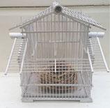 Wit houten vogelkooitje