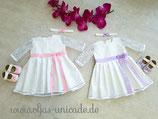 Süßes Taufset o.Hochzeitset für Zwillinge Kleid(mit Falten u.Spitzen Ärmeln) Schuhe Stirnband
