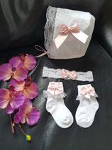Baby Haube Socken + Stirnband zu Taufe Hochzeit