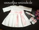 Taufkleid Mit Braut-spitze (armäl Lang) Kleid Schuhe Stirnband 56.62.68.74.80.86 Artikelnummer 0025467245-B2