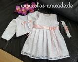 Taufset Kleid Bolero aus Fleece Stinband Taufe Hochzeit Artikelnummer 0025467245-QP-01