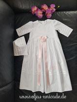 Taufset 3-teilig aus Edle-Baumwolle Kleid , Haube , Stickerei gr ab 56.62.68.74.80.86.92.98.104