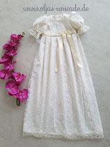Neu Langes Traditioneles Taufkleid Familientaufkleid aus Brautspitze in Creme schleife Farbe nach wunsch  Art:nummer OS.20012018