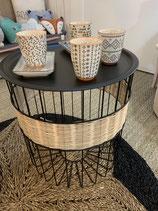 table ronde grand modèle metal et rotin
