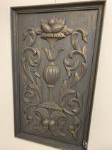 tableau bois sculpté patine noir et or