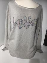 """Camouflage  Cashmere Pullover mit Swarovski Steinen   Grey """"Love"""""""
